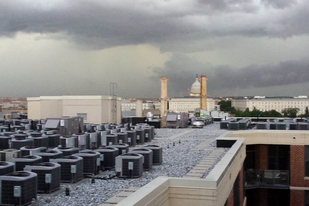 This is the view of the capitol from our building's roof. Directly behind me about 3-4 blocks is the stadium.