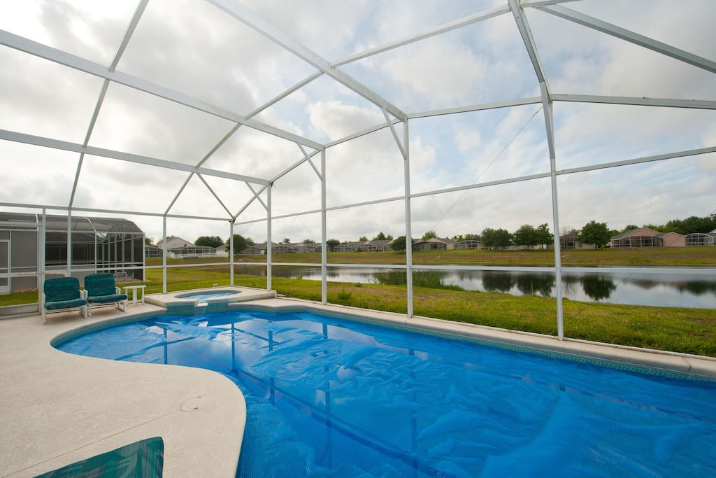 Our Pool and spa with pool cover on