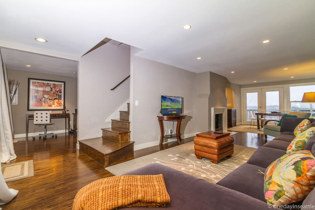 Open concept living area, study room , dining, kitchen and full bath on main floor.