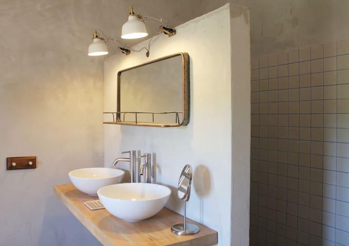 Bathroom 1 with walk-in shower