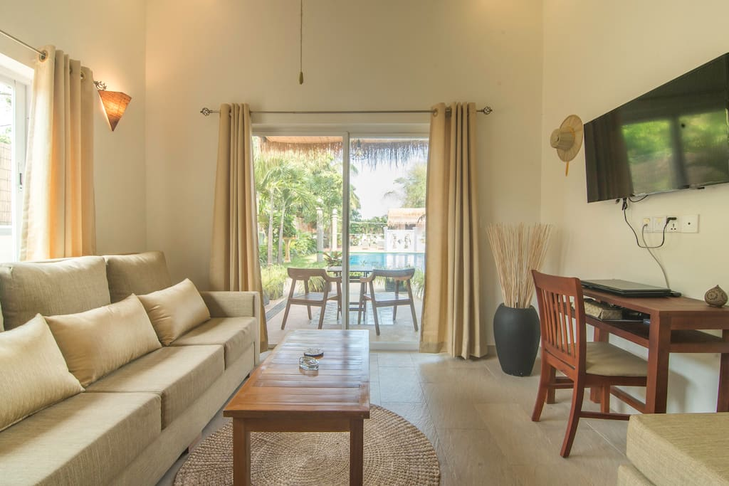 Main room, your own private space, with your own private terrace 2 steps from the swimming pool