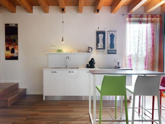 Una piccola cucina completa di accessori e stoviglie. Frigorifero, lavello, piano cottura a induzione, bollitore per thè o tisane, macchina caffè e cappuccino.  Tavolo rialzato con sgabelli-