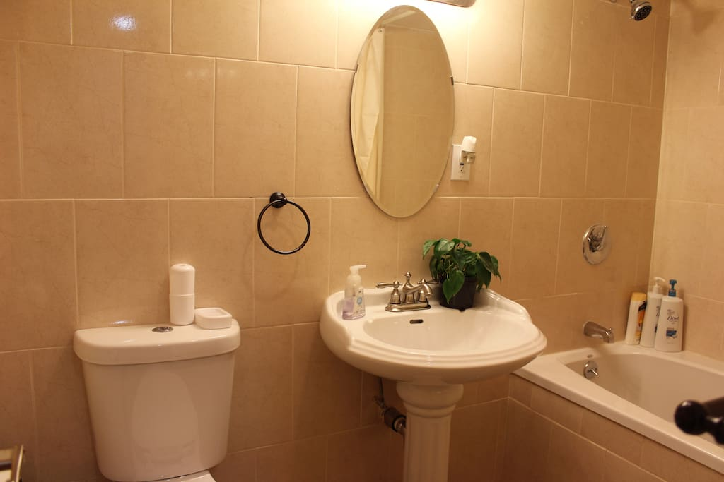 A full size Bathroom with a Jacuzzi, will help you to relax after NYC Day Walk