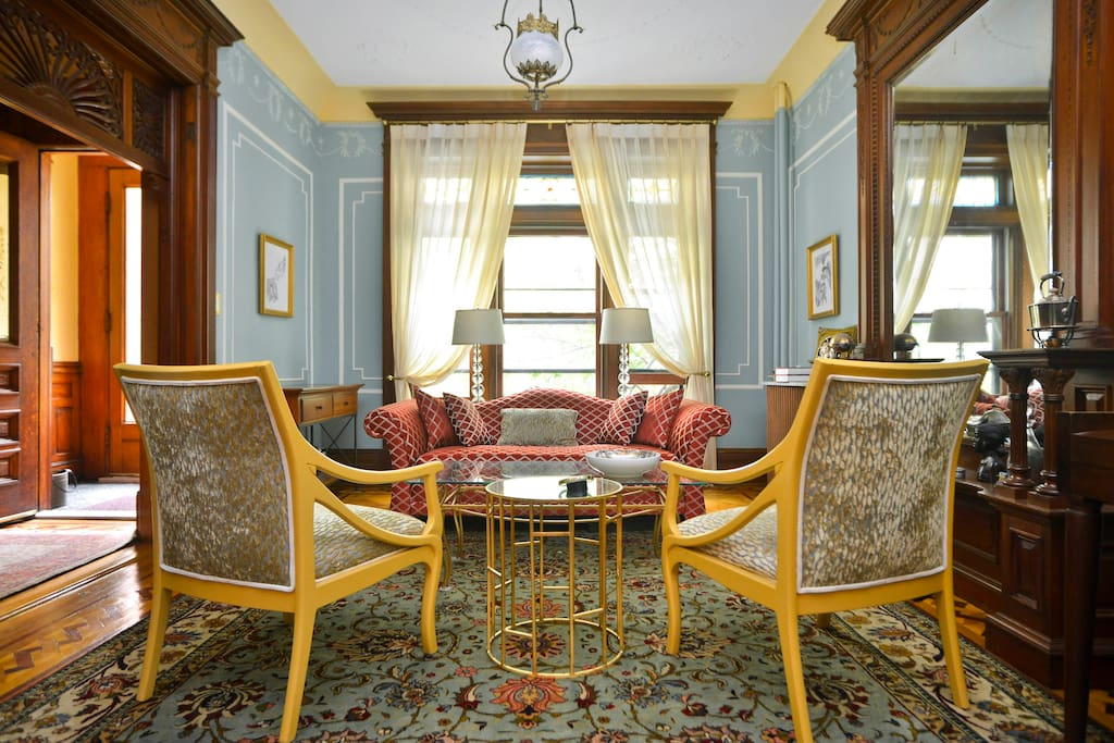 Welcome! Your room/suite is upstairs above this exquisite parlor. Relax and sip wine.