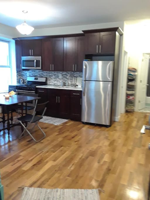 Open kitchen/living room area.  Newly renovated kitchen & all new appliances.