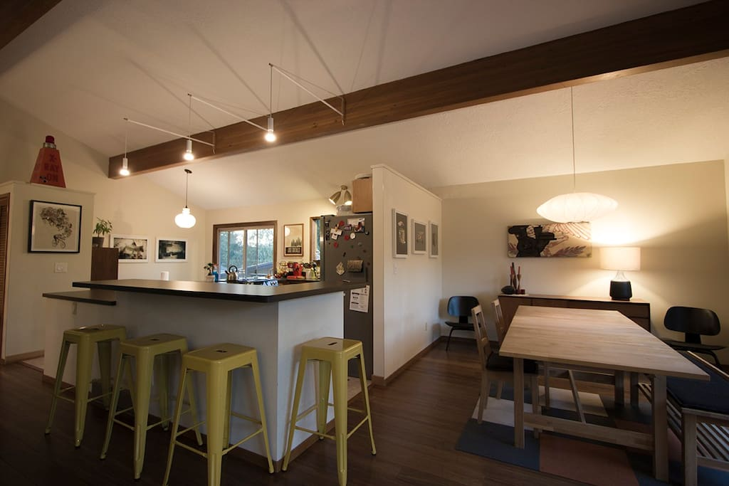 Kitchen bar and dining room on main floor