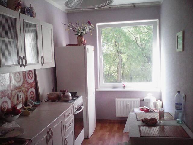Чистая кухня без излишеств, но со всем необходимым для приготовления пищи.