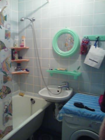 Стиральная машина, ванна, душ