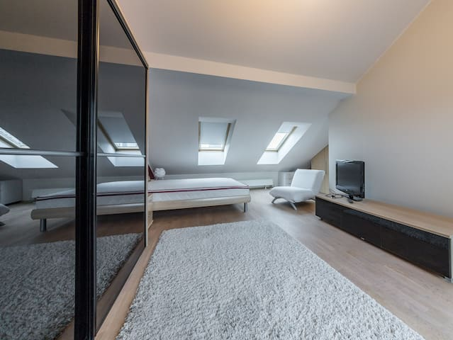 bedroom on the 2nd floor (separate bathroom with sauna and a balcony)