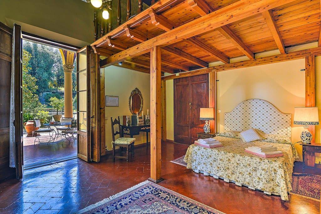 Double bed in gallery bedroom