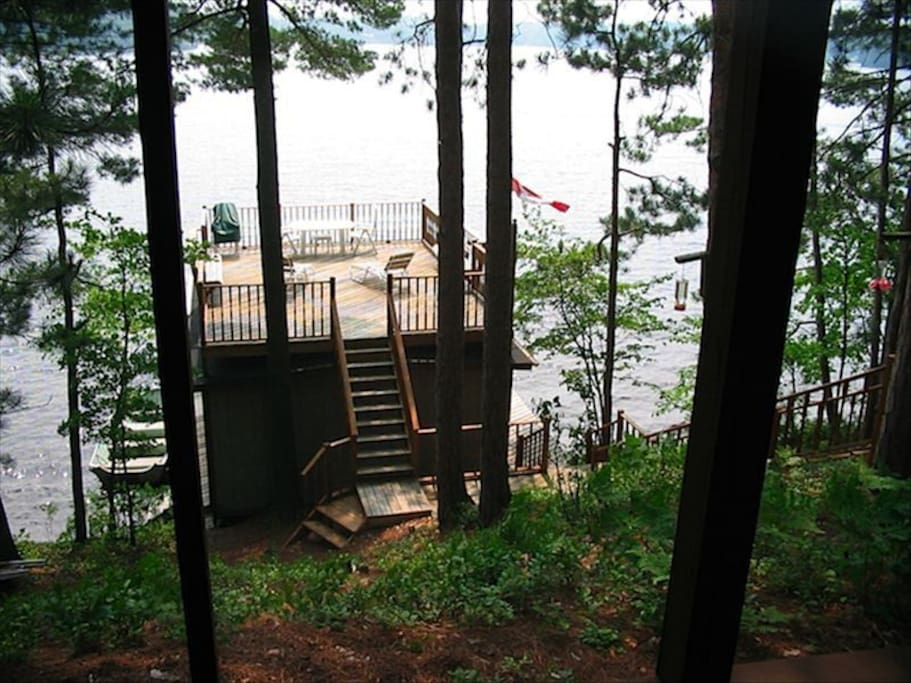 View of deck from porch