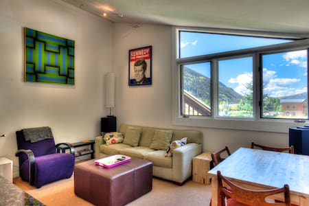 This is a great condo in a very quiet location in the town of Telluride, on the west side of town. Beautiful setting with a clean and  modern interior. We are just a 5 minute walk to the chairlift and a 5 minute walk to the center of town.