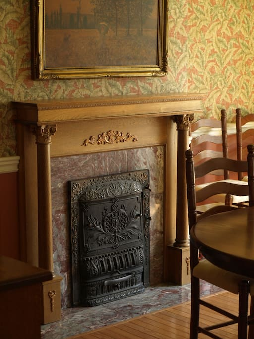 Many original features such as this coal fireplace