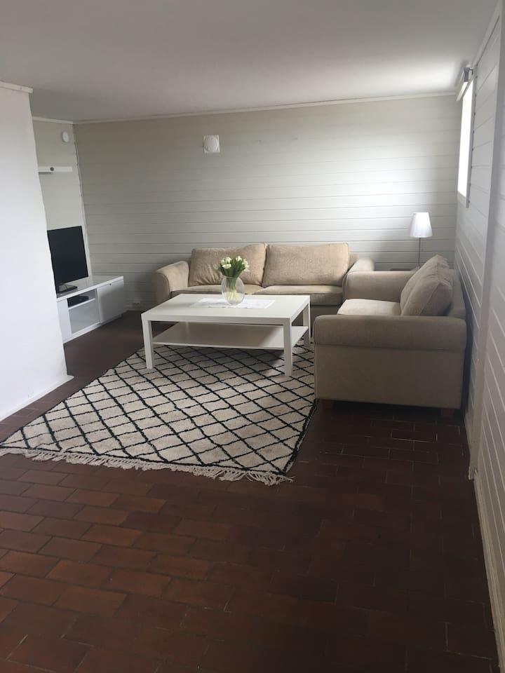 Stue med gulvvarme og Viasat TV grunnpakke.