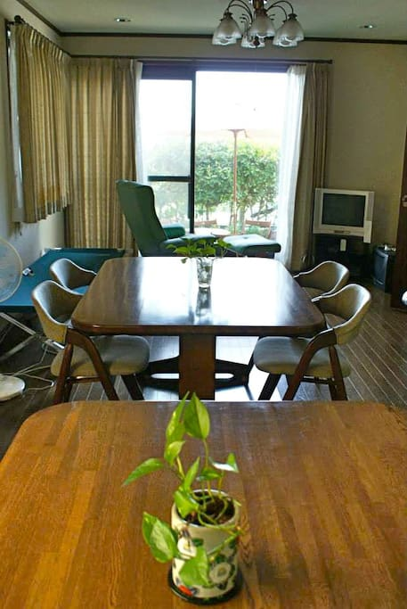 The Guesthouse offers an unusually large living room and dining area.
