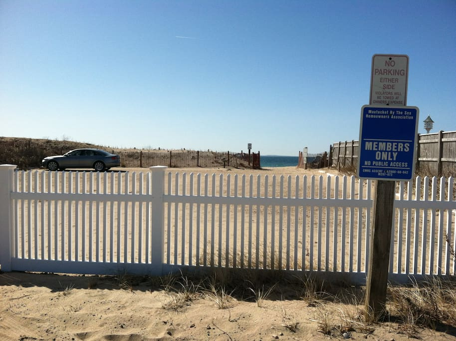 Private beach parking.