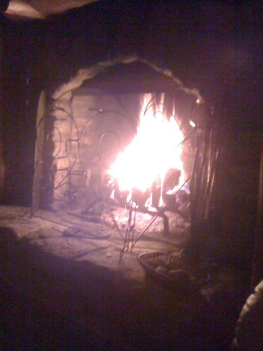 Enjoy a fire in the Russian Fireplace.
