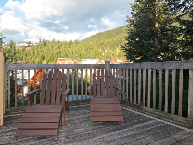 The patio affords amazing views of Whistler Mountain. The Gondola is within sight, and a quick walk away!
