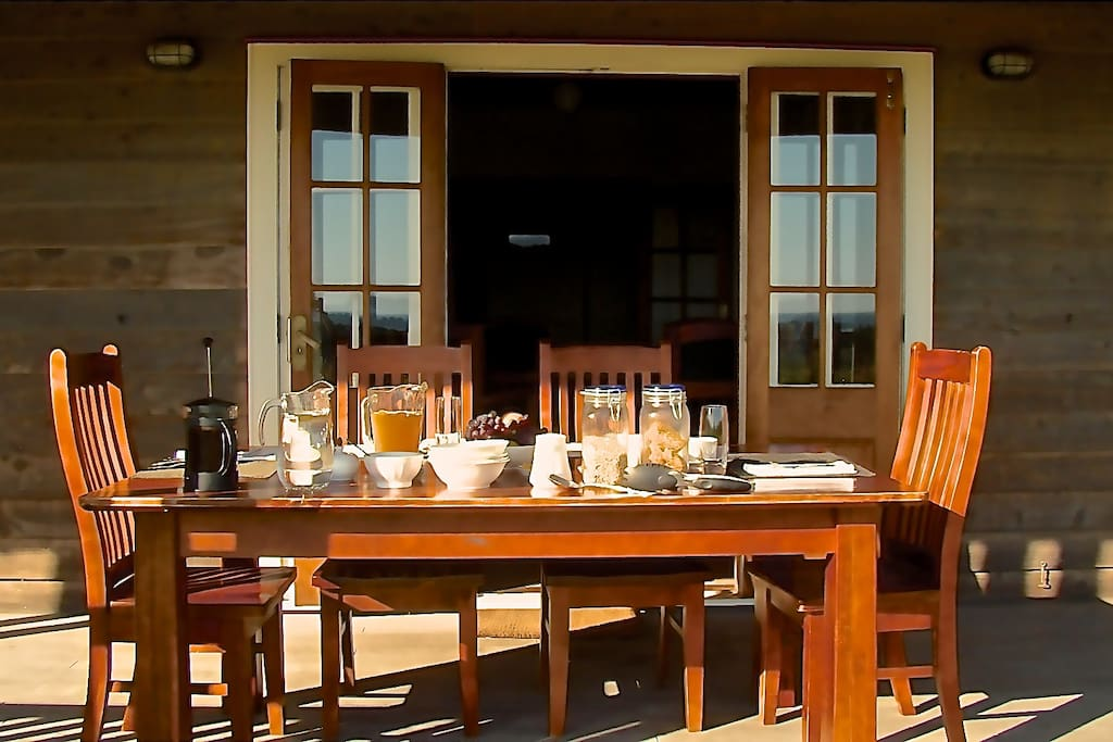 Dine indoors or out.