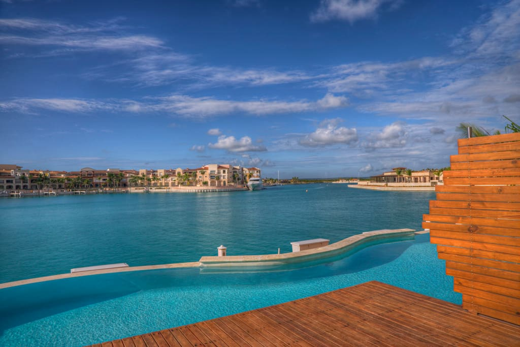 Private Pool with marina views.