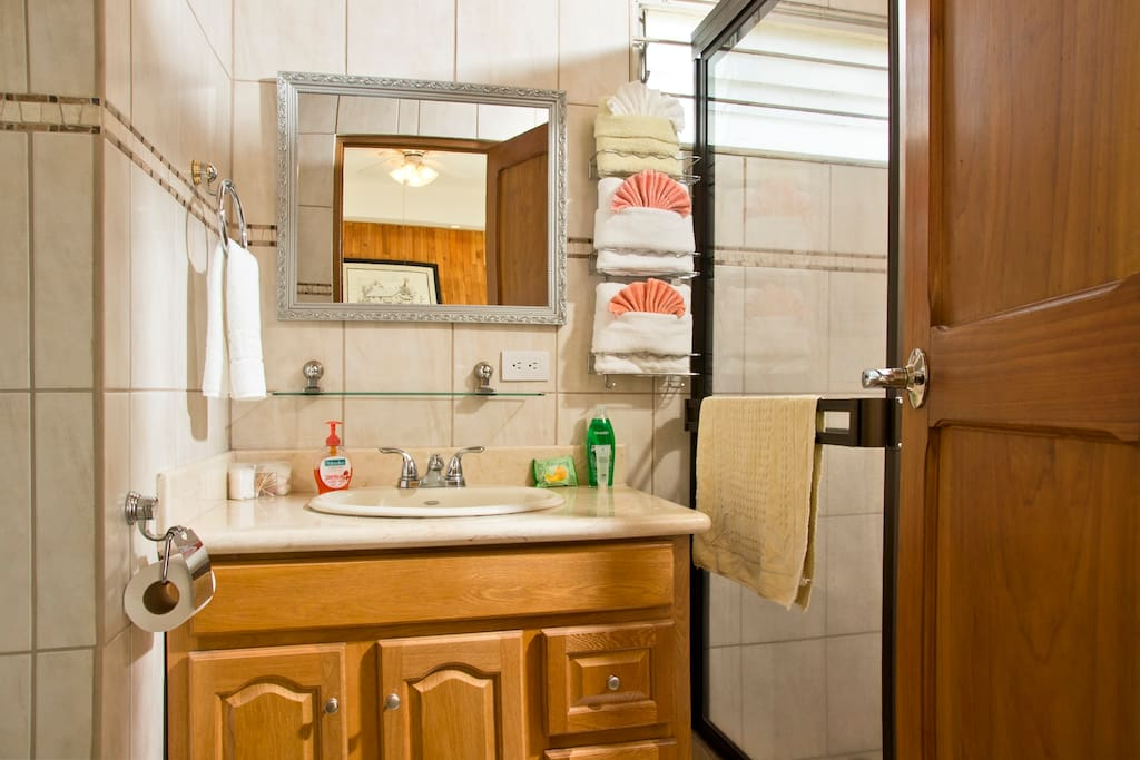 Well equipped bathroom with hot shower, plenty of towels, bathrobes & hair dryer