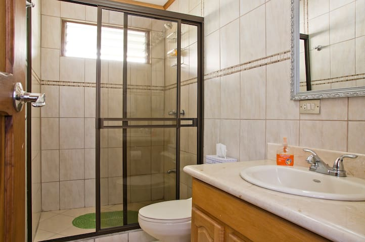 Large semi-private bathroom cleaned twice a day!