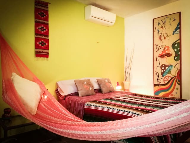 Hammock is provided for those afternoon siestas along with air conditioner and ceiling fan to help keep you cool