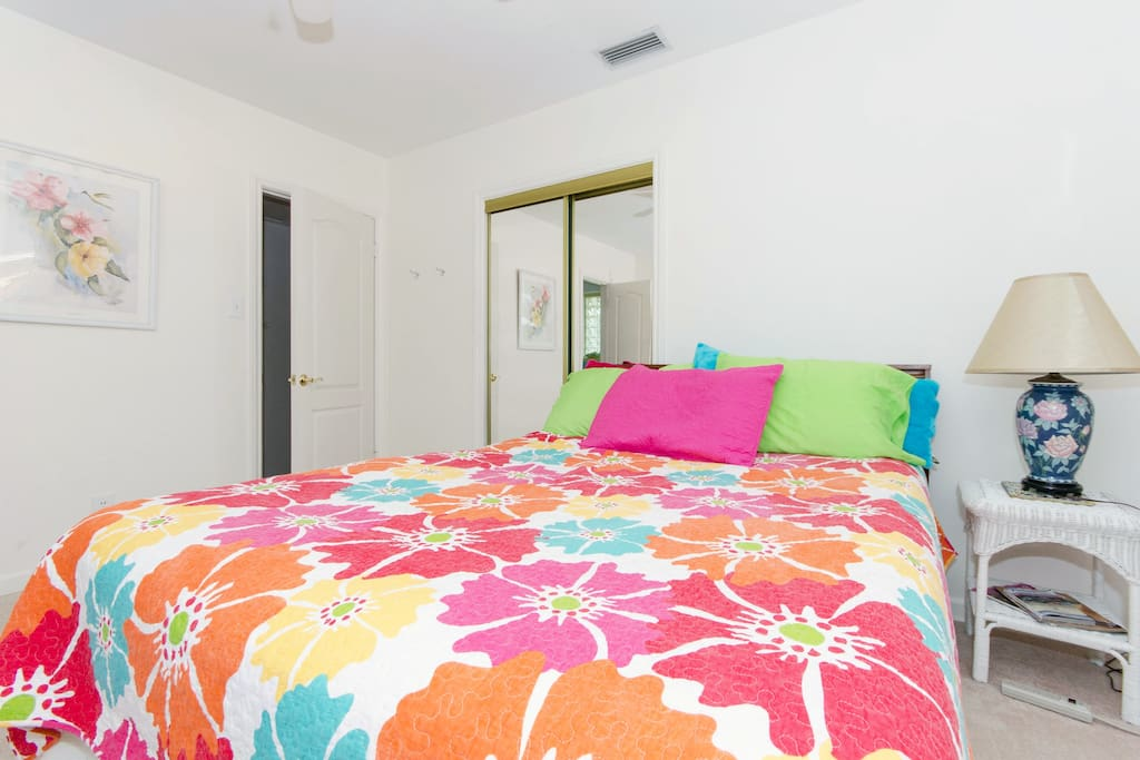 Spacious and Private Master Bedroom with private toilet and sink.