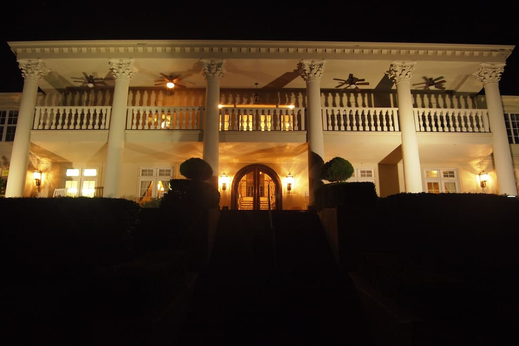 Night time view of the house