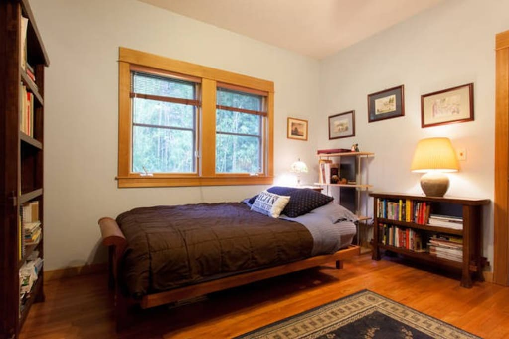 Ground floor bedroom; double size futon has a mattress topper that is super-comfortable! Sleeps 1 or 2 shared.  Semi-private bath is adjacent to this room.