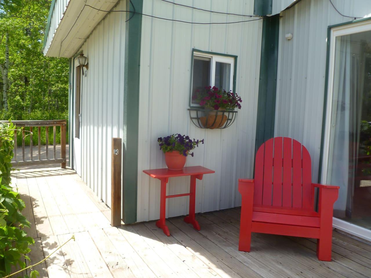 Entry door and patio area