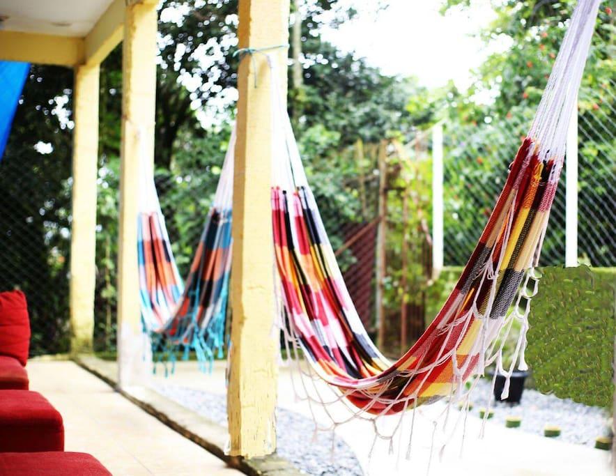 Hostel entrance with hammocks