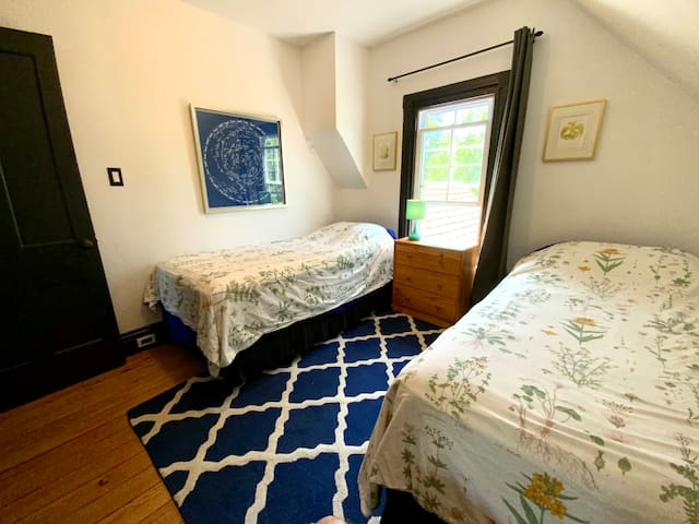 Third bedroom with two twin beds, a closet and a cozy chair.