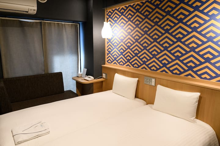 [5 min on foot to Kinshicho Sta.] Perfect for sightseeing Tokyo/ [Free breakfast Wi-Fi] Twin bedroom (22㎡)[C]