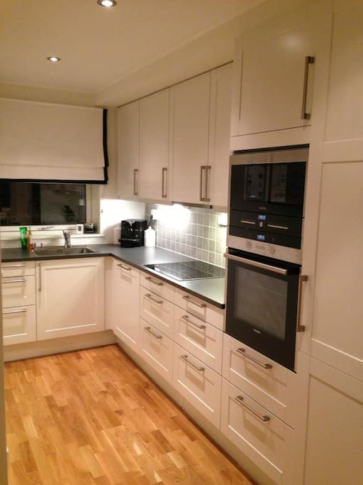 Kitchen with induction stovetop, oven, microwave, refridgerator and freezer