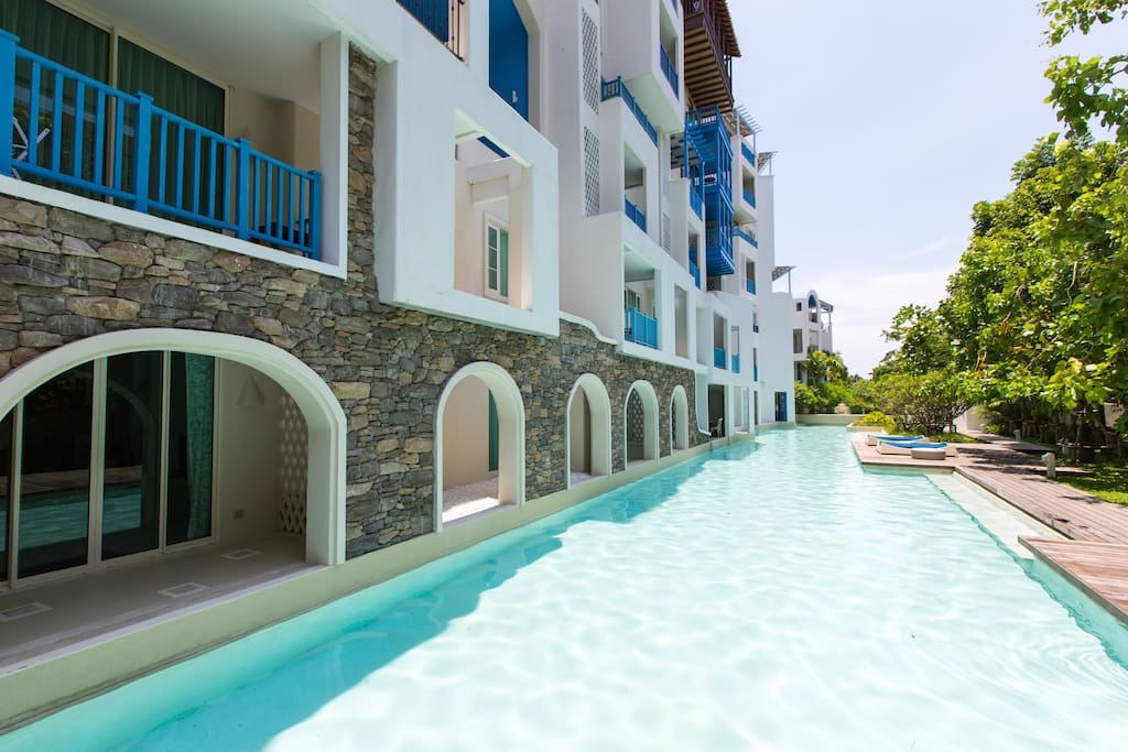 Swimming pools along all buidlings
