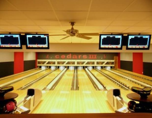 Cedars 3 Bowling alley for a change of pace or a rainy day.  Bar, Game room, party room, and a select food menu including yummy pizza. Just over a mile away.