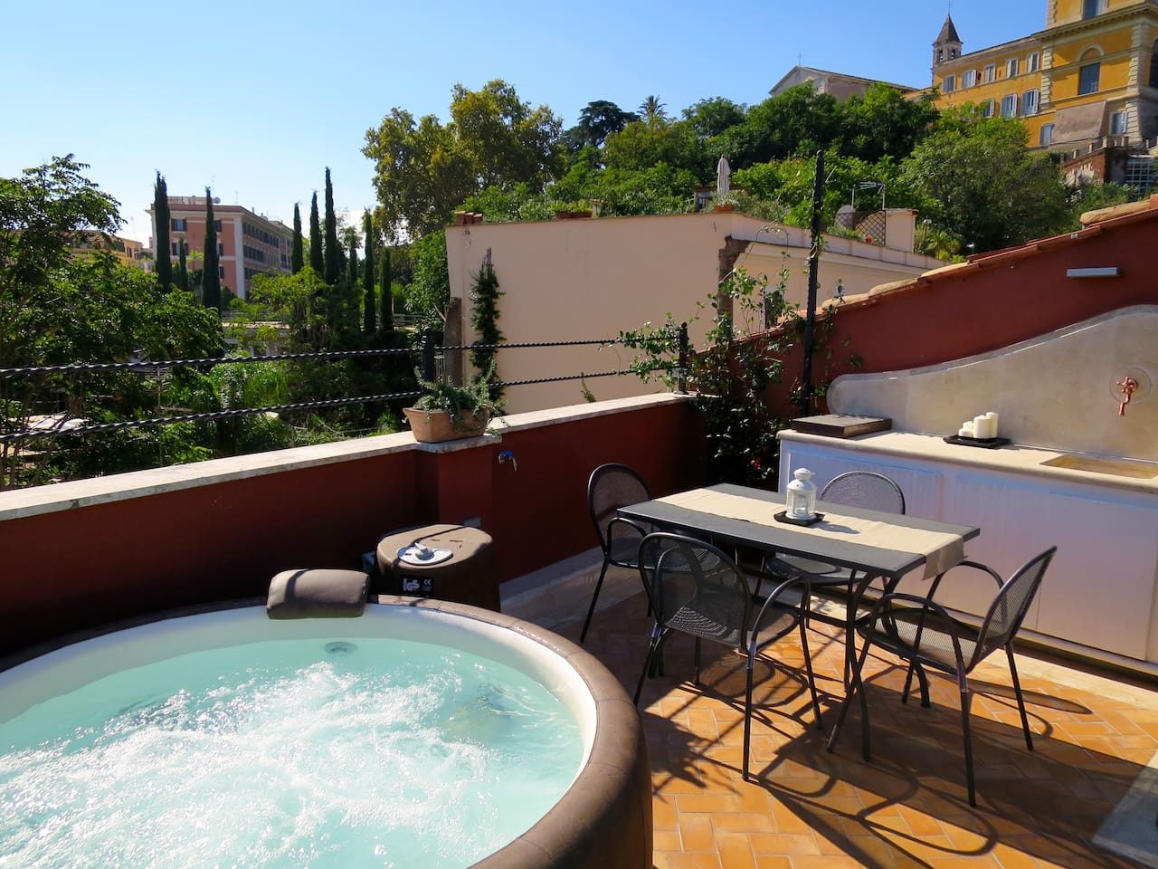 trastevere penthouse with spa apartments for rent in roma lazio