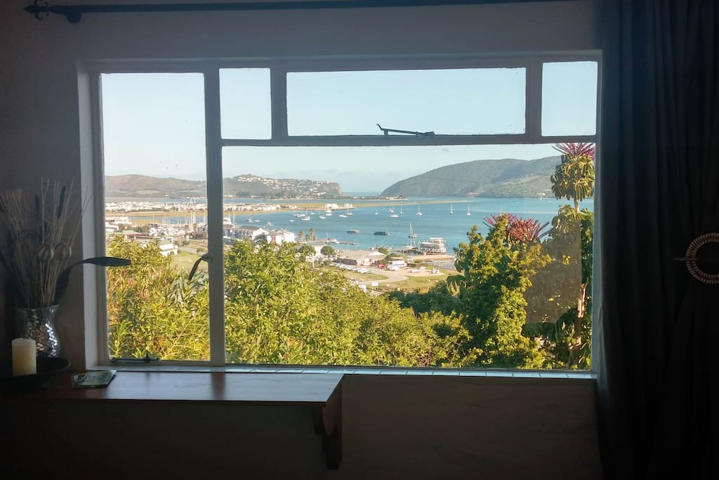 view across the lagoon from the bedroom window