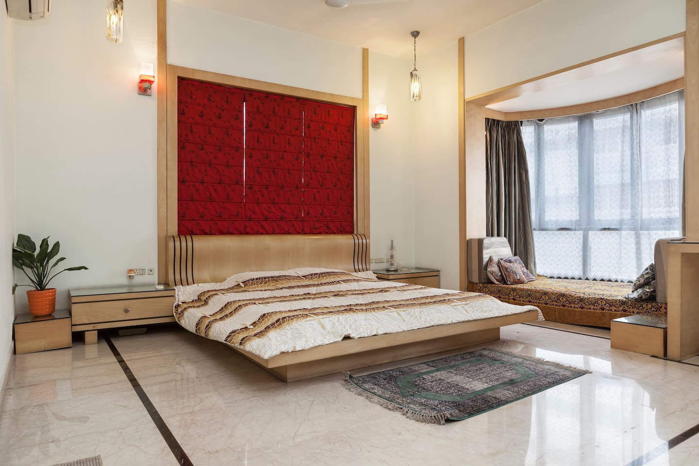 Large airy room with split AC