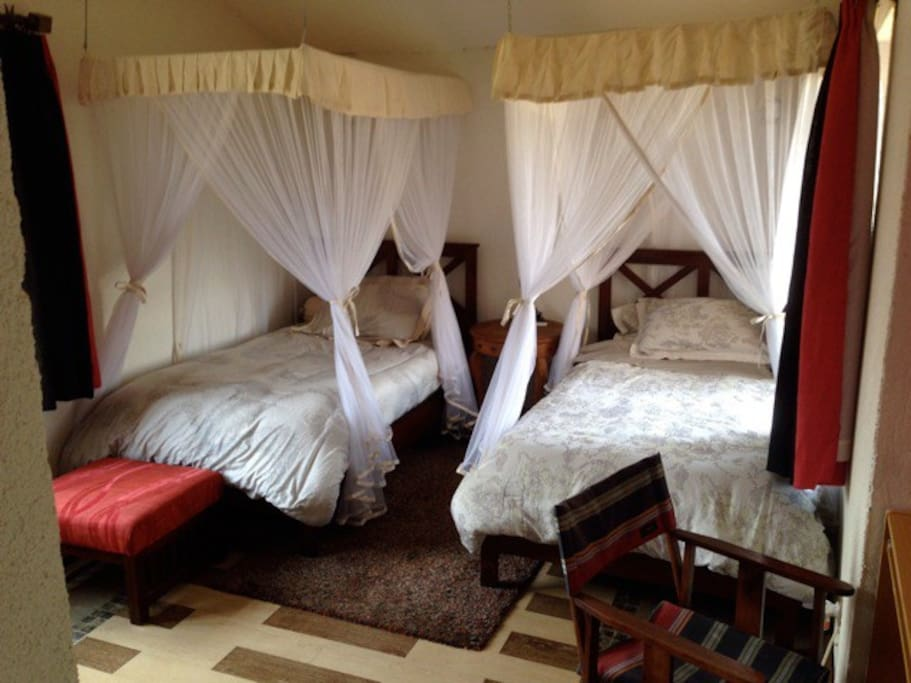 Large room with comfortable extra beds… ?suitable for two friends