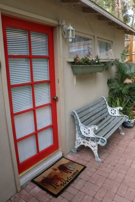 Front Door and Bus Bench for Waiting When He/She is Looking for Keys, Phone and Such