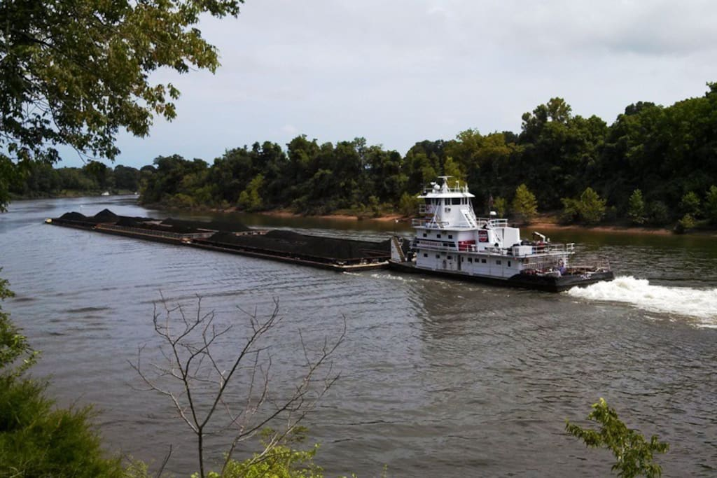 About 8 or ten tug boats go by the house every day