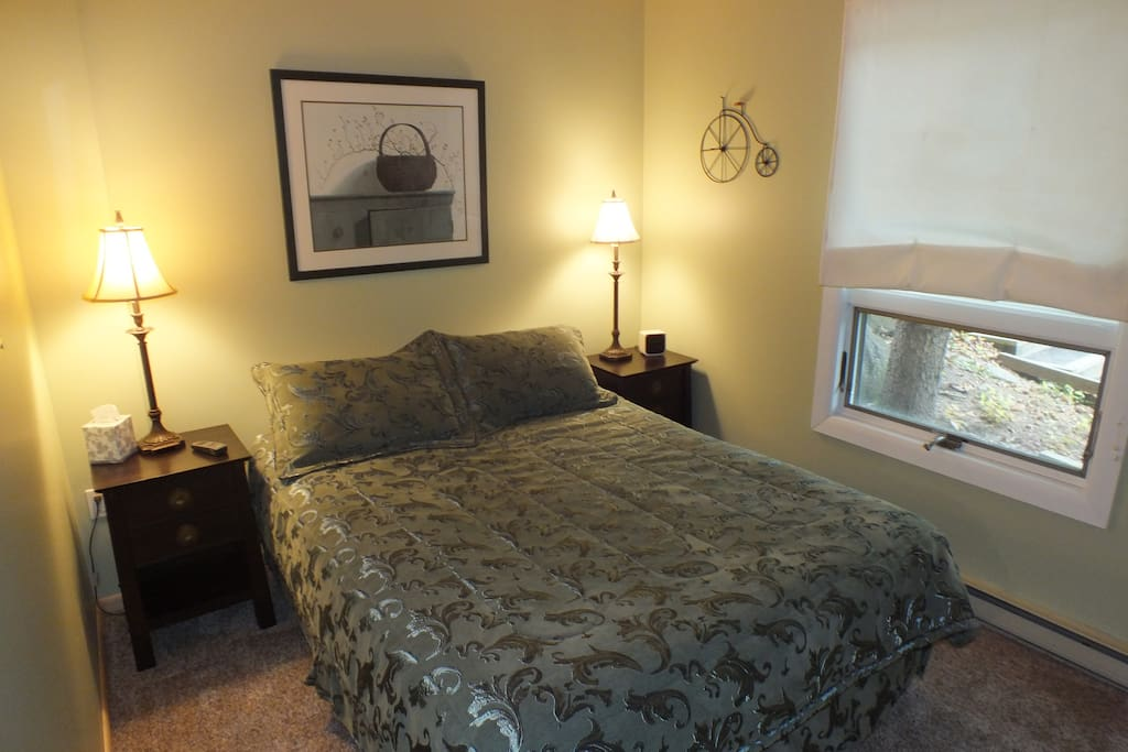 Pier One furniture.  Queen size bed.