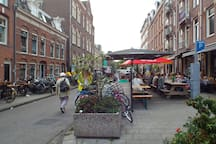 Bellamystreet, village like street in old part off Amsterdam West, with a lot of restaurants nearby.
