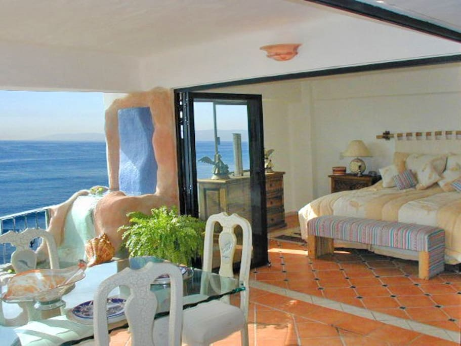 The King Bedroom Opens Onto The Terraza And Has A View Of All Of Banderas Bay.