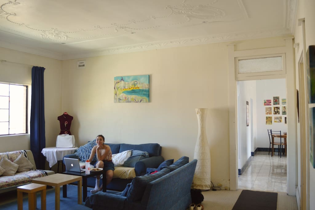 Our spacious lounge room (and friendly housemate Ara)