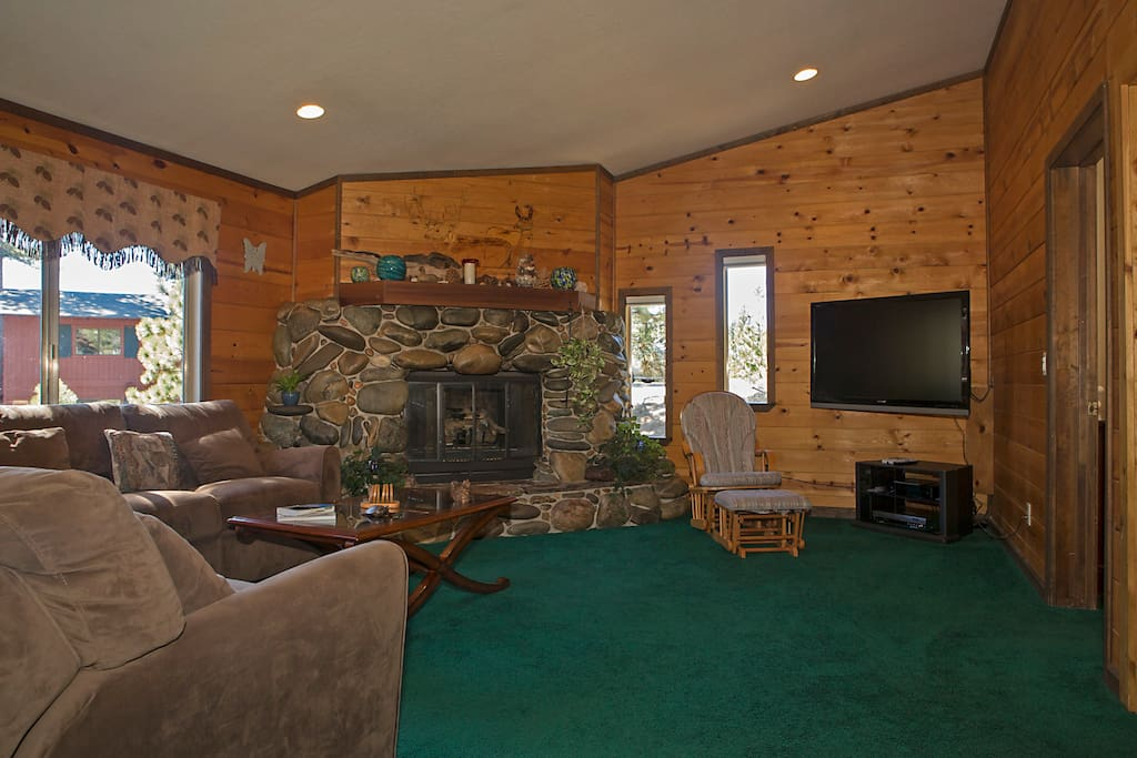 Gas Rock Fireplace & TV in Living Room