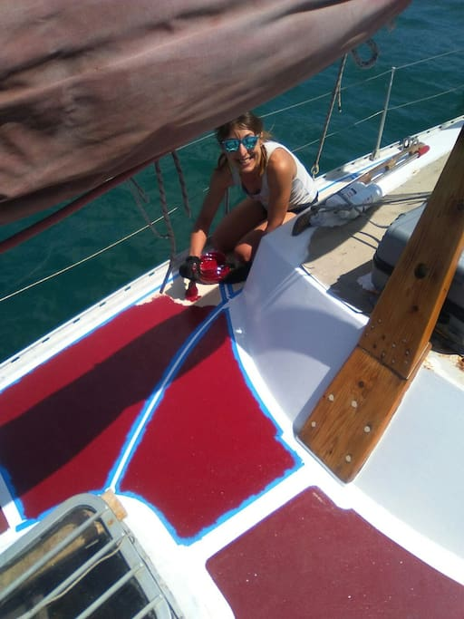 Justyna working on the starboard deck non-slip