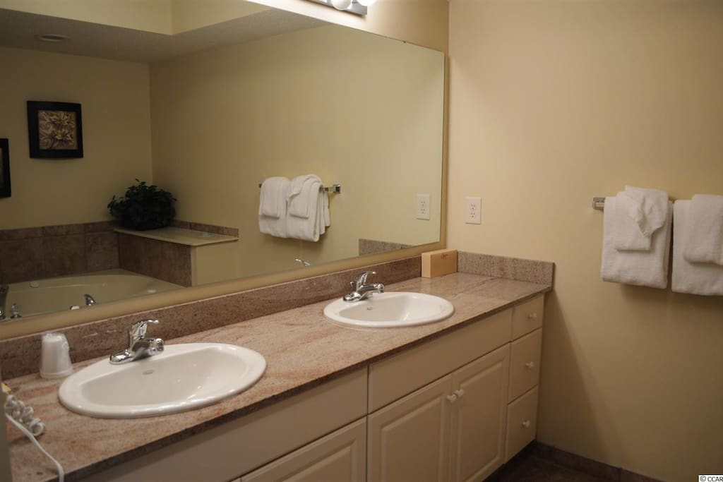 Master bath with granite counters and double vanity